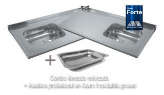 Mesada 140cm Bacha Simple De Acero Inoxidable Grueso 100% Calidad + Asadera De Acero Profesional De Regalo + Envio