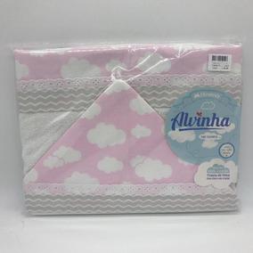 Toalha Felpa Forro 90x90 Nuvem Rosa Cinza - Alvinha Minasrey