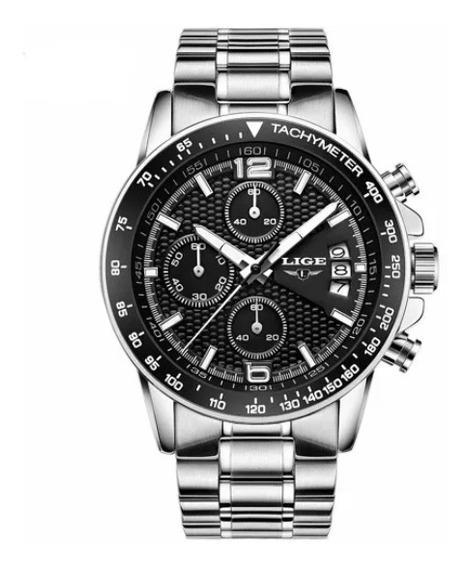 Relógio Lige Cronograph Luxo 3atm Calendario Auto Aço + Case