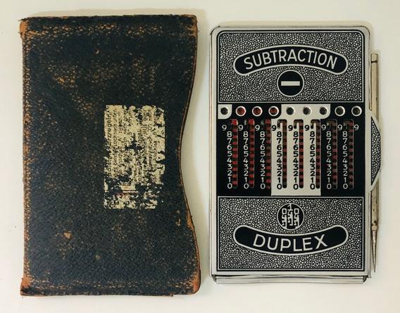Calculadora De Bolso Antiga Duplex Soma, Subtrai Funcionando