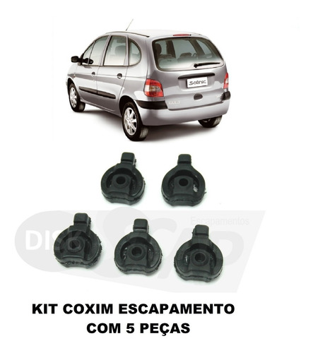 Kit 5 Pç - Borracha / Coxim Do Escapamento - Renault Scenic