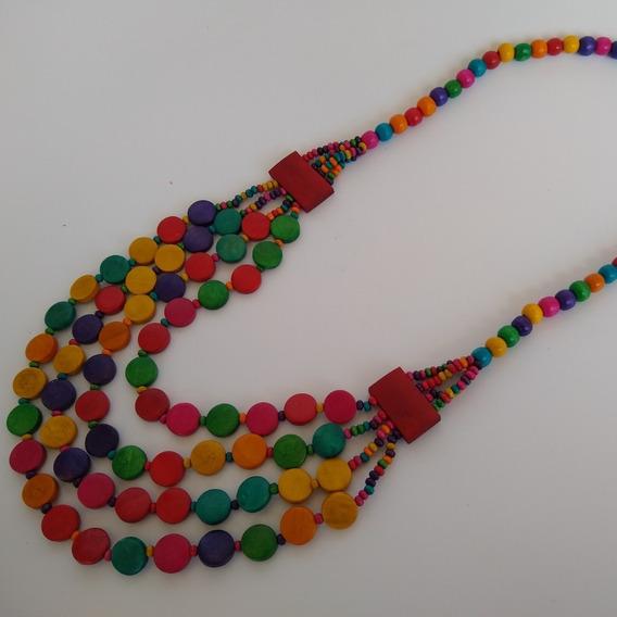 Colar De Madeira Colorido Ref: 9597