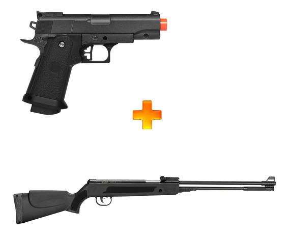 Pistola De Airsoft Spring G10 + Carabina De Pressão 5,5mm
