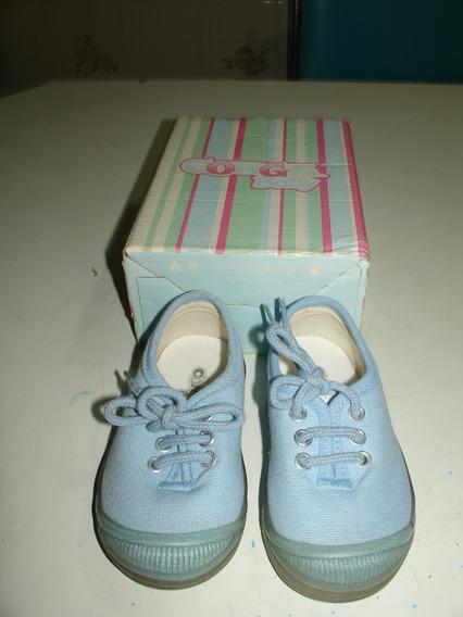 Menina Sapato Conga Baby Azul Cadarço Lindo Intacto 20 Taman