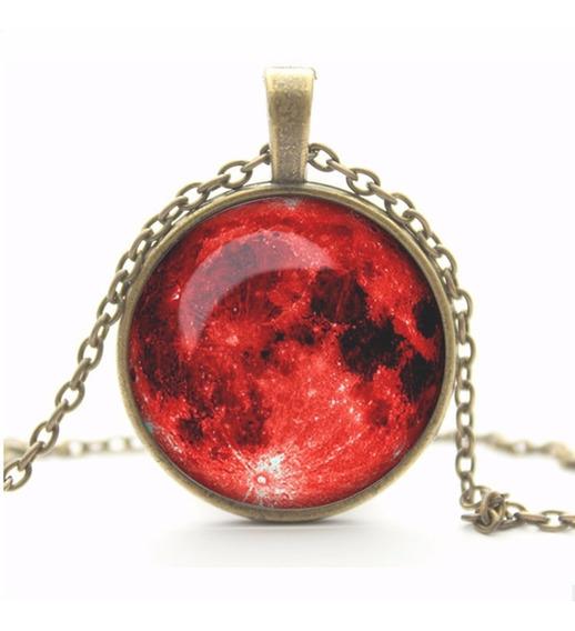 Colar Cúpula De Vidro Fenômeno Lua Vermelha
