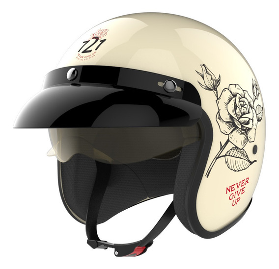 Casco Moto Hawk 721 Abierto Vintage Never Give Up Oficial