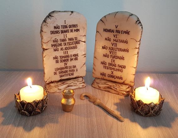 Tabua Pedra Dos 10 Mandamentos Castiçal Altar Da Fe Resina