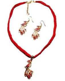 800ba8451269 Collar Dama Moda Mujer Aretes Pavorreal Cristales Rojo
