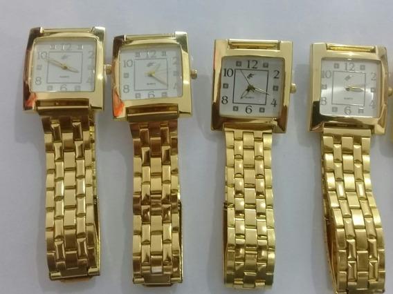 Kit C/05 Relógio Feminino Barato Quadrado Dourado Exclusivo