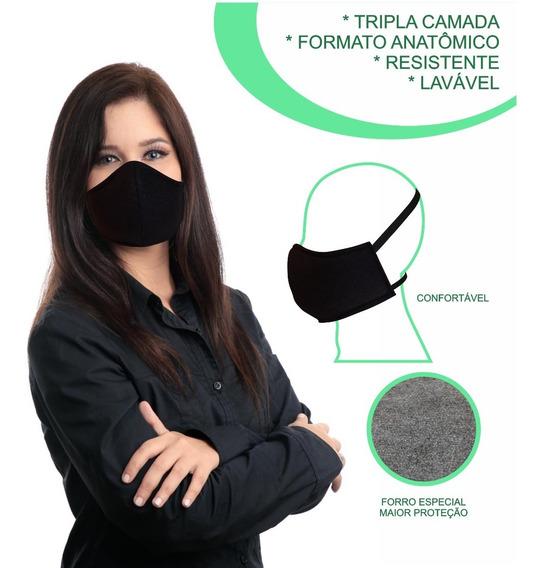 Máscara Lavável Confortável Tripla Proteção Elástico Cabeça