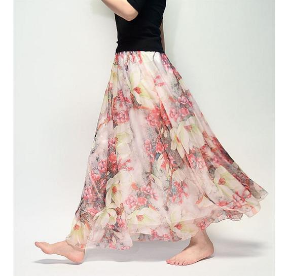 Linda Saia Longa Importada De Chiffon Flowers Colorful
