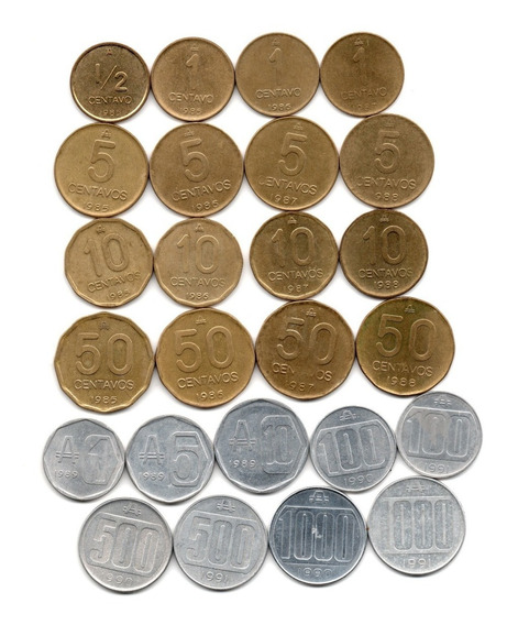 Lote Monedas Argentina Australes Serie Completa 1985 A 1991