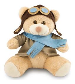 Ursinho De Pelúcia Aviador 30cm Decoração Anti-alérgico