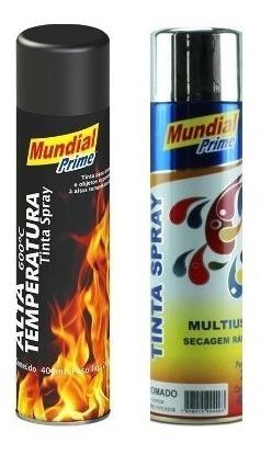 Kit Tinta Spray Alta Temperatura Preto Fosco E Cromado