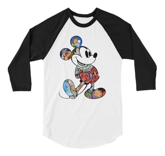 Playera Raglan 3/4 Mickey Ilustración Disney