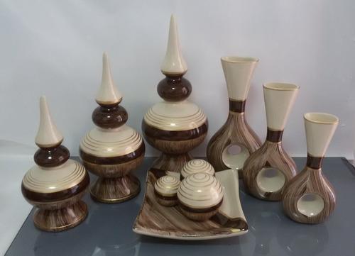 Imagem 1 de 4 de Conjunto Cerâmica Jogo Trio Vasos Style & Furo + Frut. M.