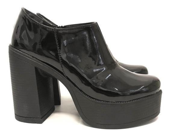 Botas Zapatos Mujer Charol Taco Plataforma Monakia Art730nch