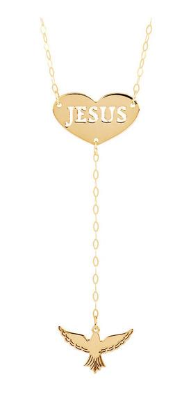 Corrente De Ouro 18k Feminina Divino Espírito Santo