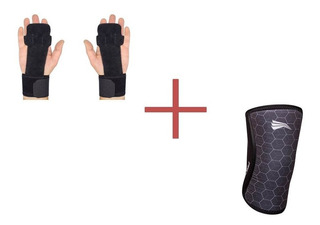 Kit Progne Joelheira 7mm + Luva Grip Leather Preta Crossfit