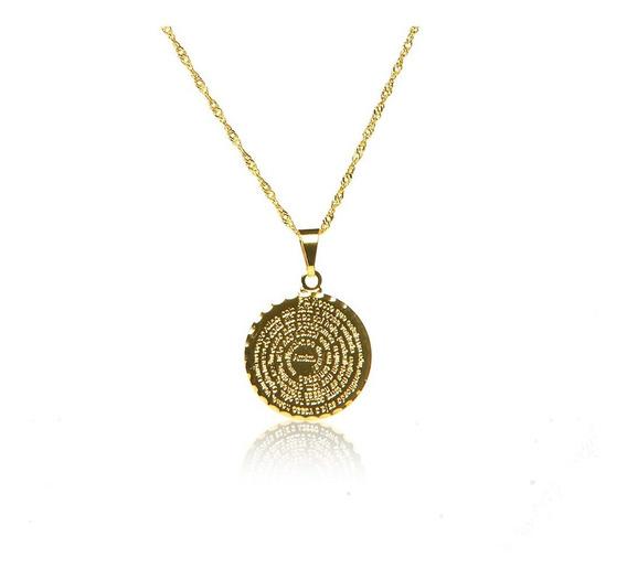 Pingente Medalha Oração Pai Nosso Banhado Ouro18k Corrente