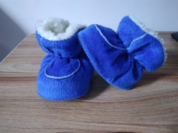 Pantufa Infantil Acolchoada De Lã Pé Quentinho - Azul