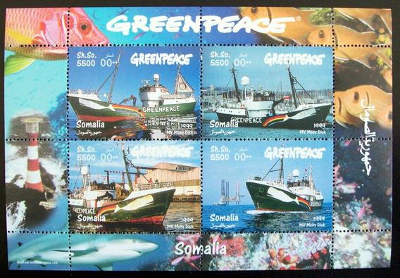Somalía, Barcos Bloque Greenpeace 4 Sellos 1999 Mint L5628