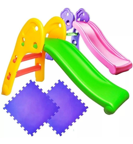 Imagen 1 de 7 de Tobogán Infantil Plástico Plegable Niño +2 Pisos Goma El Rey