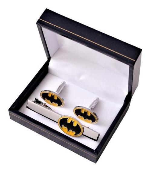 Set Colleras (gemelos) + Prendedor De Corbata Batman