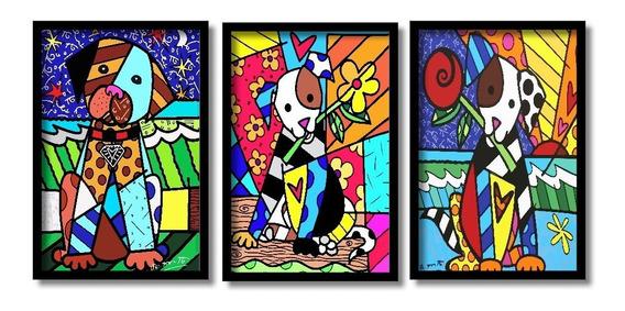 Romero Brito Cães Com Flor Na Boca Kit 3 Quadros Inéditos