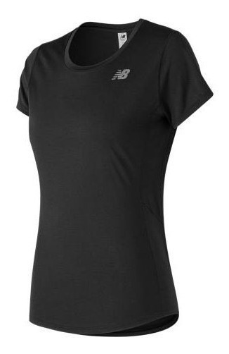 New Balance Remera Running Mujer Accelerate Short Negro