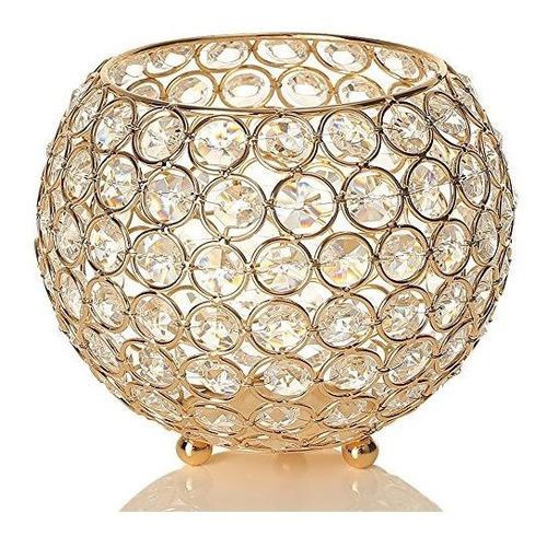 Imagen 1 de 7 de Sostenedor De Vela De Recipiente De Cristal Dorado Vincigant