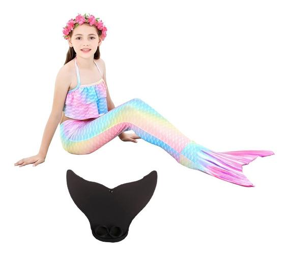 Envío Gratis Sirena Cola Y Bikini Niñas Con Monoaleta Set 4