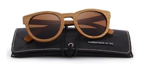 Óculos Sol Merrys Original Madeira Polarizado Uv Lentemarrom
