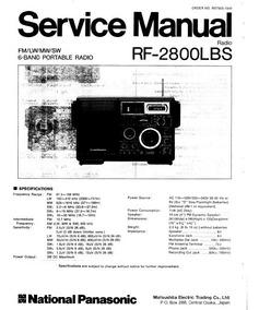 Radio Panasonic Rf-2800 Lbs - Esquemas De Serviço