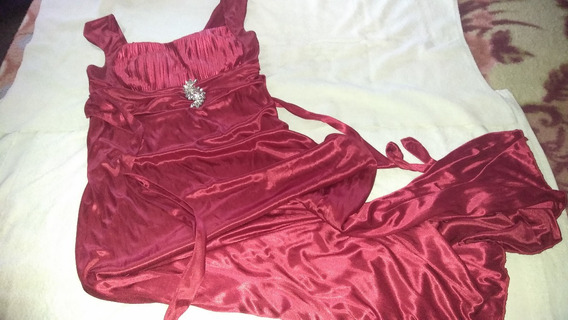 Vestido De Fiesta Para Damas Largo En Saten Con Broche.