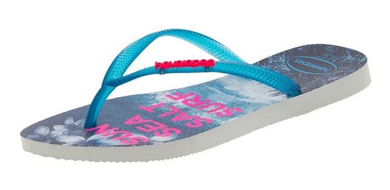 Chinelo Feminino Slim Paisage Branco/azul Havaianas - 413261