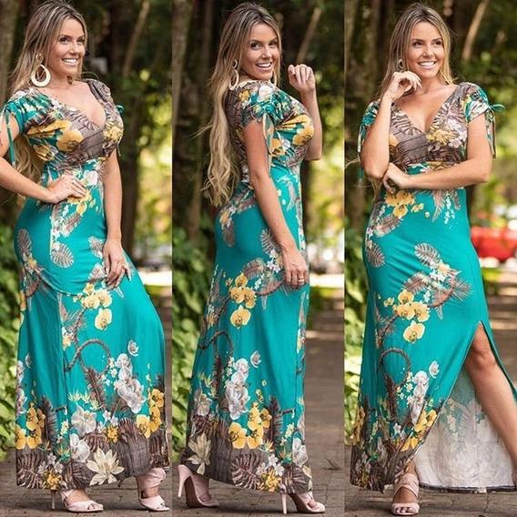 Vestido Longo Estampado Floral Decote V Roupas Feninina Cd0v