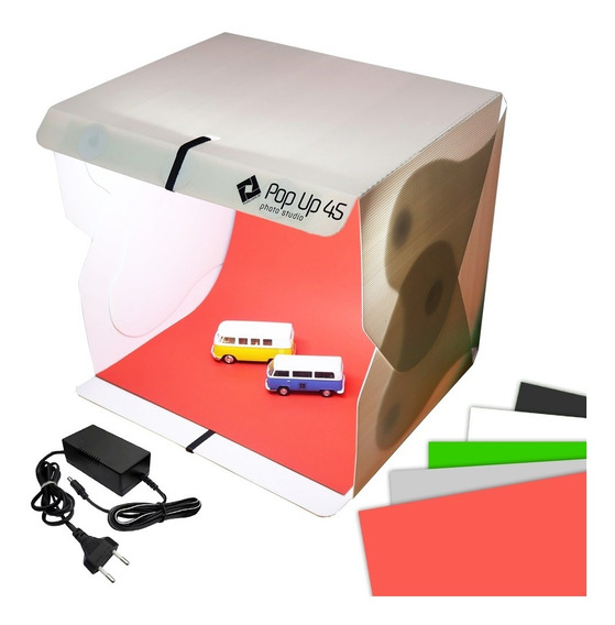 Studio Fotográfico Box Para Photo Já Tem Iluminação Led 45cm