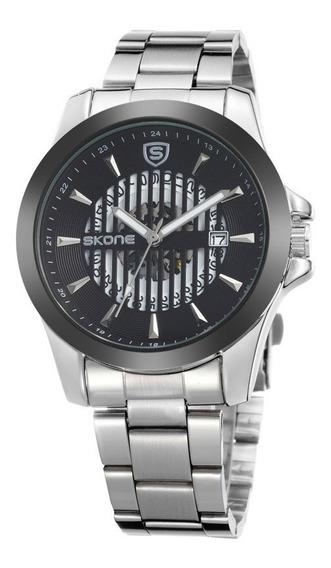 Relógio Masculino Skone Analógico Pulseira De Aço Inox Prata 7232 Luxo Importado Original Com Caixa E Nota Fiscal
