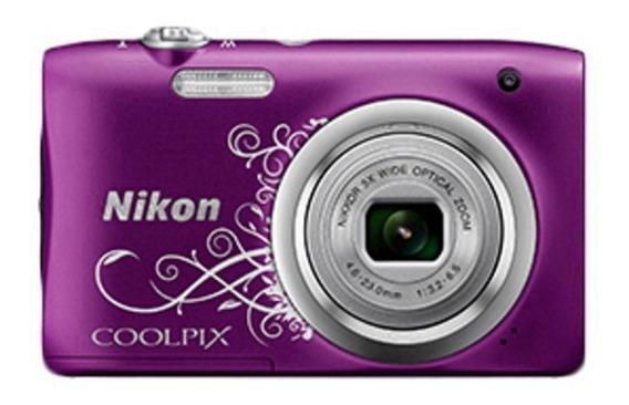 Camera Nikon A100 20mp/5x/hd Roxo