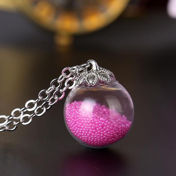 Colar Bola De Vidro Cristal Bolinhas Rosa