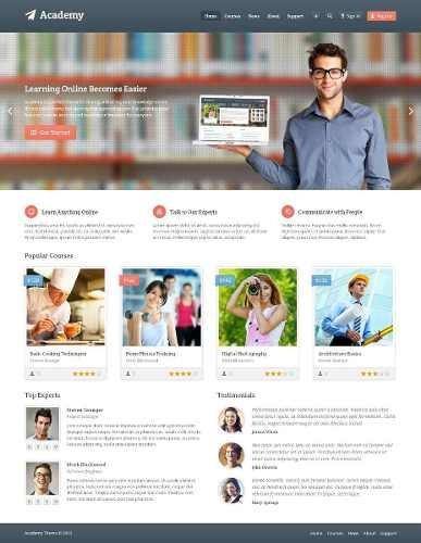 Site Cursos E E-learning - Tema Academy