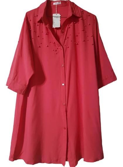 Camisola-vestido Importada Con Aplique De Perlas T.u