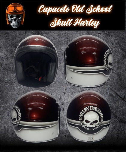 Capacete Old School Customizado Harley Skull - G.kustom