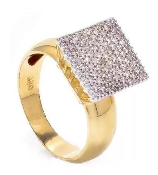 Anel Chuveiro Quadrado Grande 61 Diamantes De Ouro 18k
