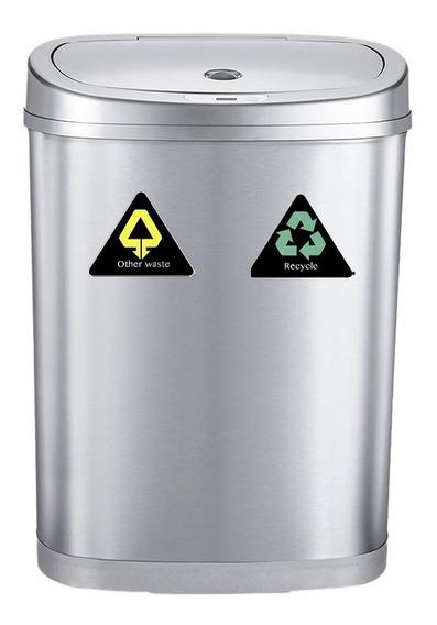 Cesto Tacho Basura Automatico Eco Reciclaje Doble 42 Lts