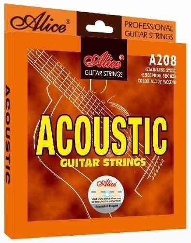 Encordado Guitarra Acustica Alice 012 Acero Inoxidable