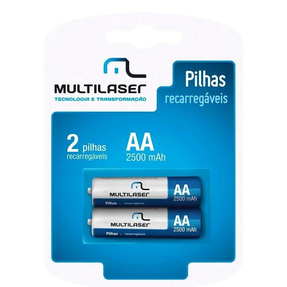 Pilhas Recarregáveis Aa Multilaser Com 2 Unidades - Cb053