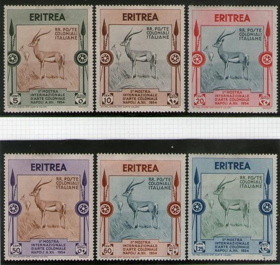 Eritrea Colonia Italiana 6 Sellos Nuevos Fauna = Gacela 1934