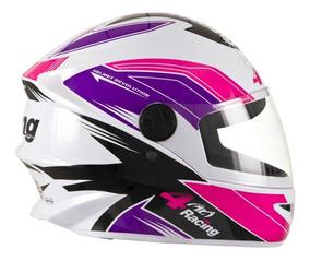 Capacete Feminino Fechado 4 Racing Pink Lilás Pro Tork